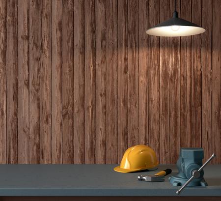 大工、ヘルメット、木製の壁の背景、3 D 上でハンマーの作業テーブルをレンダリングします。