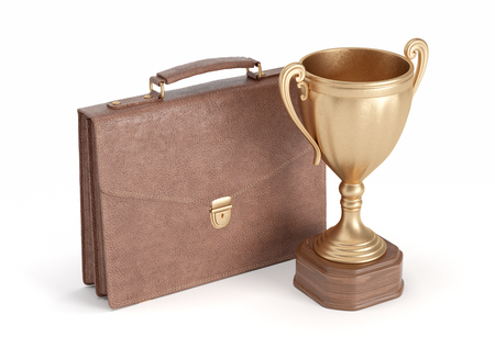 insulate: briefcase and gold cup winner on white isolated background, 3D rendering