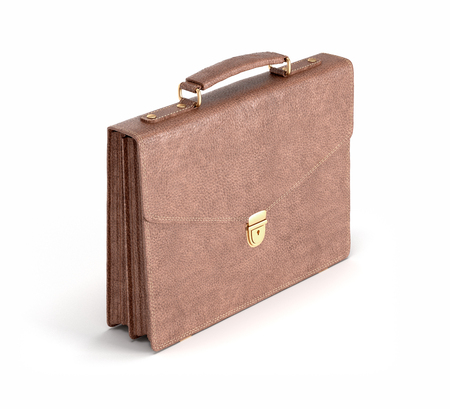 brown leather briefcase on white isolated background, 3D rendering