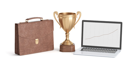 golden cup winner, briefcase and laptop isolated on white background, 3D rendering