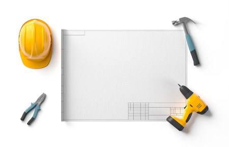draft project, helmet and construction tools on white isolated background, top view, 3D rendering Stock Photo
