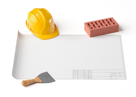 draft project, helmet, brick and construction tools on white isolated background, 3D rendering