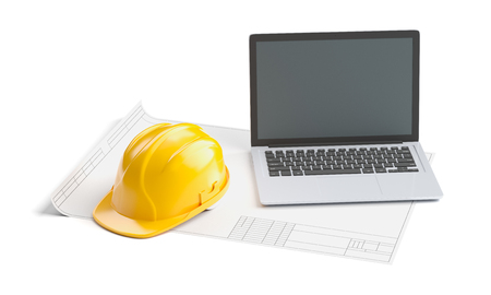 blueprint, helmet and laptop on white isolated background, 3D rendering