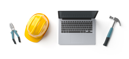 laptop, helmet and construction tools on white isolated background, top view, 3D rendering