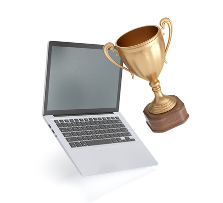 golden cup winner and laptop isolated on white background, 3D rendering