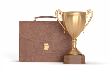 gold brown: brown briefcase and gold cup winner on white isolated background, 3D illustration Stock Photo