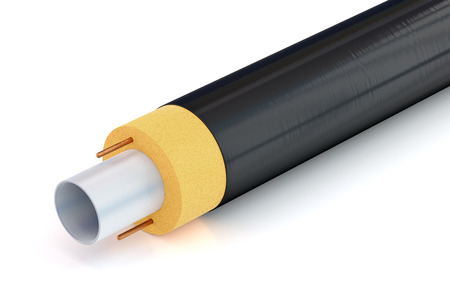 insulation: pipe with insulation and heating cable on white background, 3D illustration