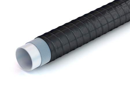 metal pipe with insulation coatings on white background, 3D illustration