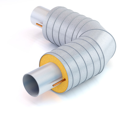 metal pipe with thermal insulation on white background, 3D illustration