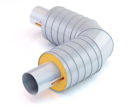 Tuyau métallique avec isolation thermique sur fond blanc, illustration 3D Banque d'images - 65279536