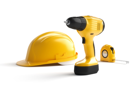 construction helmet: helmet and construction tools on white isolated background, 3D illustration