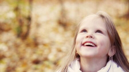 Smiling girl in a spring day for a walk Stock Photo