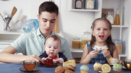 funny children eat sweets