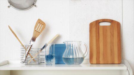 Pasta in glass jar on the kitchen background