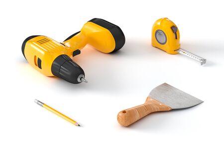 screwdriver, measuring tape and spatula Stock Photo