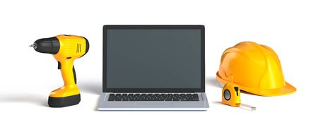 laptop and construction tools Stock Photo
