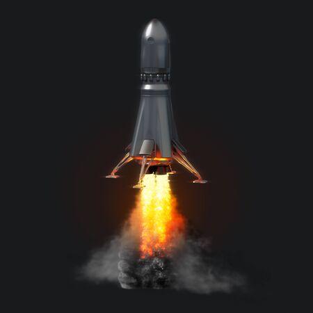 暗い背景にロケット打ち上げ