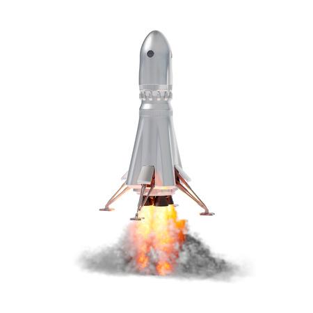 白い背景の上のロケット打ち上げ