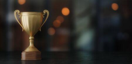 gold cup winner on dark bokeh background