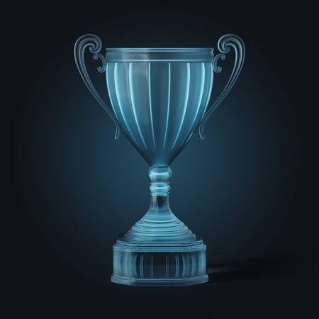 futuristic neon glass cup winner on dark background, 3D illustration 版權商用圖片