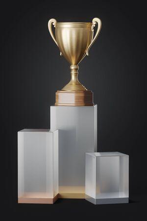 gold cup on the winner podium on dark background, 3D illustration 版權商用圖片