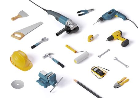 helmet, drill and other construction tools on a white background isolated, 3D illustration