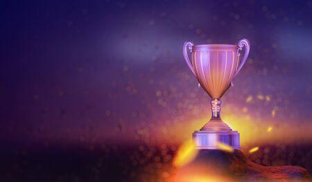 winner cup in the sunset sky background, 3D illustration 版權商用圖片