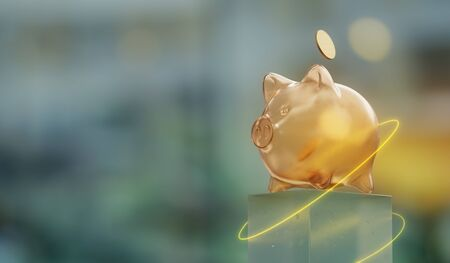 discount concept, piggy moneybox on bokeh background, 3D illustration