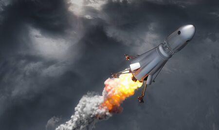 rocket on cloud sky background, 3d illustration 版權商用圖片