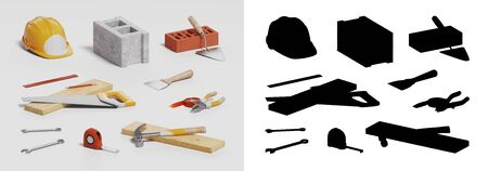 construction helmet and tools, icon set on white background, 3D illustration