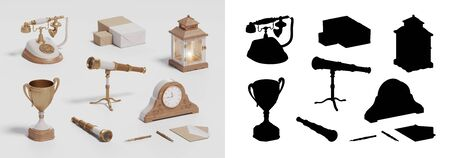win cup, retro phone and vintage set on white isolated background, 3D illustration