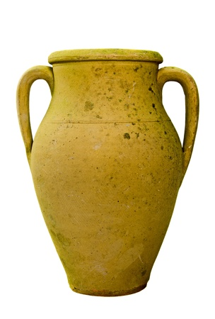 an unglazed earthenware bottle: Vintage Pottery isolated over a white background