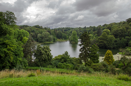 landscaping riverside: Stourhead lake, Wiltshire, England