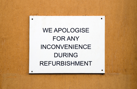 Refurbishment sign on wooden  Stock Photo - 23299202