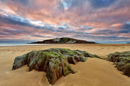 burgh: Bigbury on sea overlooking Burgh Island, Devon, UK Editorial
