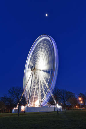 The Big wheel at night, Plymouth Hoe, Devon, UK