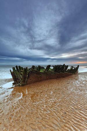 burnham on sea: The 1897 Norwegian barque SS Nornen on the beach at Berrow, Somerset,