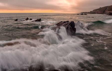 Sunset at Freathy on Whitsand Bay, Cornwall, UK Stock Photo - 13827490