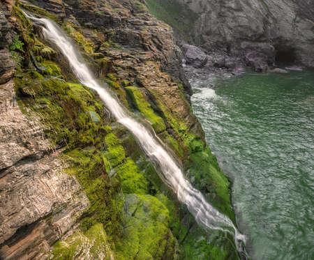 Cornish Seascape Waterfall photo