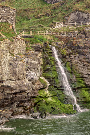 Cornish Seascape Waterfall Stock Photo - 13834671