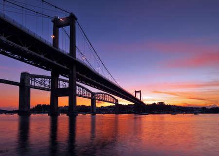 The Tamar Bridge built in 1961 spanning over the River Tamar, Devon, UK