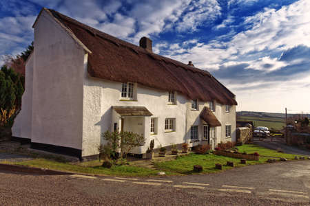 thatched cottage: A Thatched cottage in Bigbury, Devon, UK Editorial