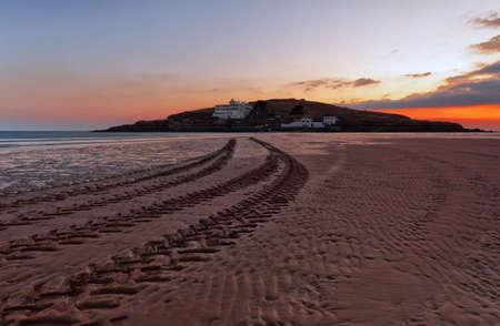 burgh: Bigbury on sea overlooking Burgh Island, Devon, UK Editorial