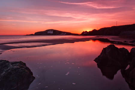 burgh: Bigbury on sea overlooking Burgh Island, Devon, UK Stock Photo