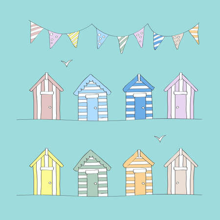 Hand Drawn Beach Huts & Bunting Фото со стока - 35128472