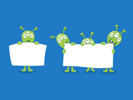 Cute Aliens holding a white sign Vector