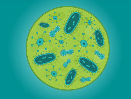 green and red: A circle of Germs  Bacteria