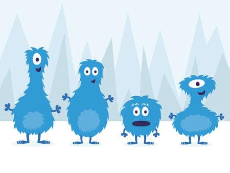 Cute Blue Furry Monster Set Vector