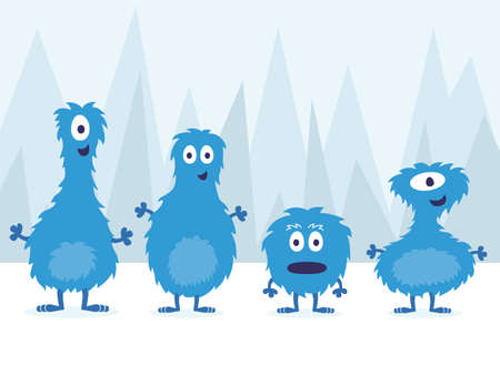 freaky: Cute Blue Furry Monster Set