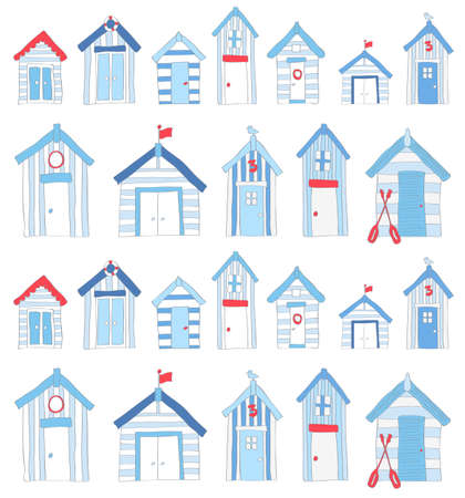 Hand Drawn Blue and Red Beach huts